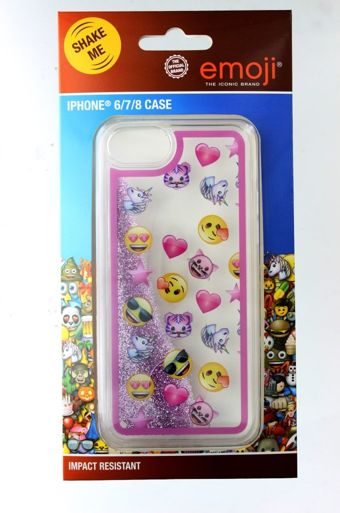 Emoji iPhone cover with moving glitter design Image